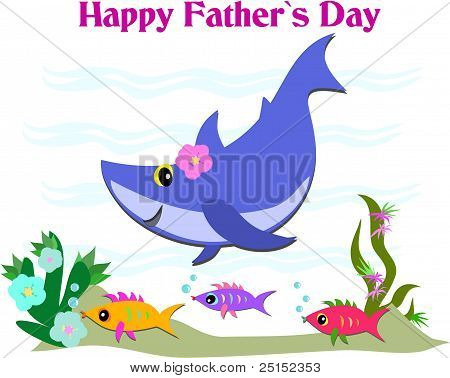 Here is a colorful Father's Day Greeting with marine life and waves. poster