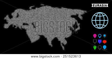 Bright Pixel Halftone Eurasia Map. Geographic Map In Bright Color Shades On A Black Background. Vect