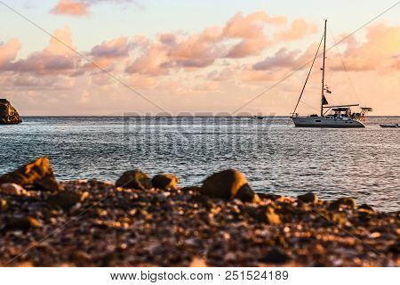 Travel Photo In St. Barths, Caribbean. Sailing Boat With A Beautiful Sky In Background In St. Barths