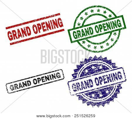 Grand Opening Seal Imprints With Distress Surface. Black, Green, Red, Blue Vector Rubber Prints Of G