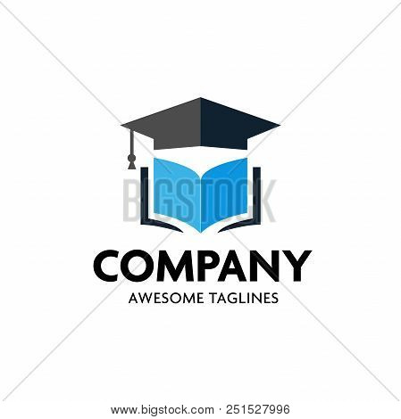 Education Logo Concept With Graduation Cap And Open Book Pages, Graduation Cap And Open Book Logo Co
