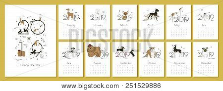 Monthly Creative Calendar 2019 With Dog Breeds For Dog Breeders And Dog Lovers Yellow - The Color Of