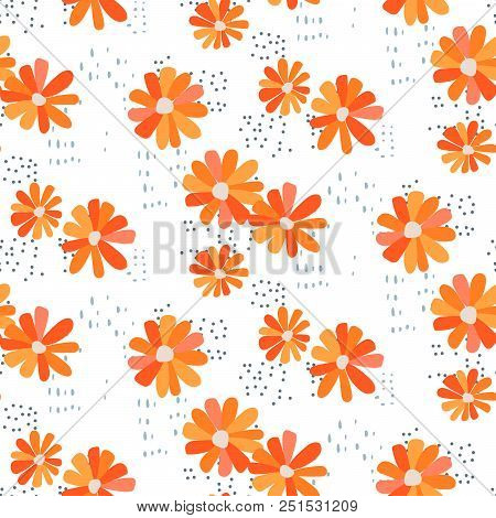 Marguerite Daisy Seamless Vector Pattern. Orange On White Floral Background.