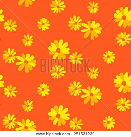 Marguerite Orange Floral Daisy Seamless Vector Pattern. Orange And Yellow Flower Background.