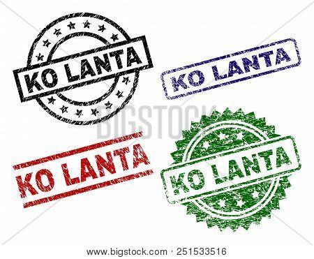 Ko Lanta Seal Prints With Distress Style. Black, Green, Red, Blue Vector Rubber Prints Of Ko Lanta T