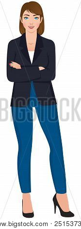 Stock Vector Illustration. Beautiful Confident Young Woman In Full Length Isolated On White Backgrou