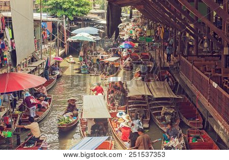 Floating Market In Thailand.bangkok. Food And Culture In Asia.travel And Tourism