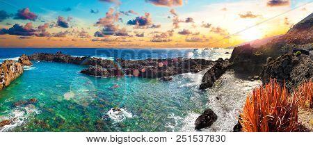 Nature Scenic Seascape In Canary Island.travel Adventures Landscape.tenerife Island Scenery.