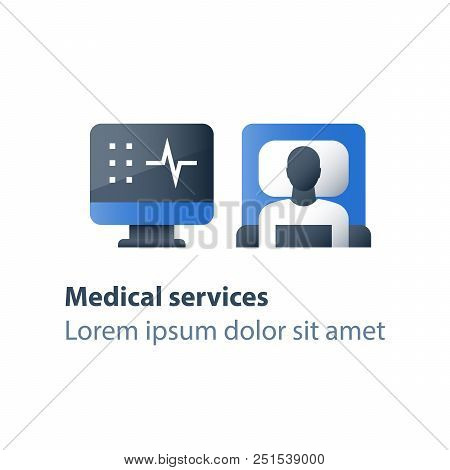 Hospital bed, medical attendance, hospitalization and treatment, stationary therapy, cot in ward, surgery room, vector flat icon poster