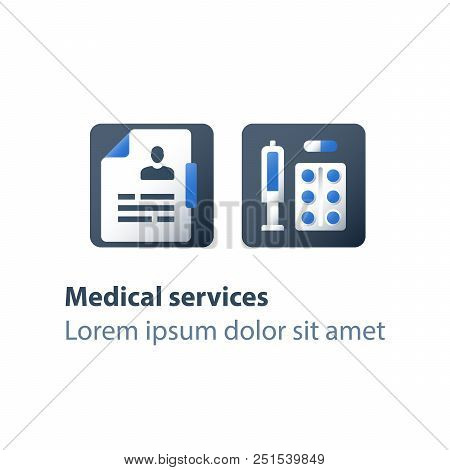 Pharmacy and medicine, medical drugs, antibiotics capsule, painkiller pills, syringe and tablet bar, preventive vaccination, medication therapy, health care services, vector flat icon poster