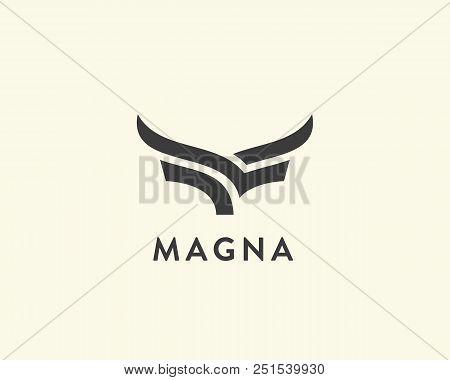 Abstract Cow Steak Premium Logo Design. Creative Bull Horns Line Icon Symbol. Luxury Wings Bird Logo