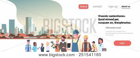 People Different Occupations Stay Together Over Cityscape Background Flat Portrait Horizontal Banner