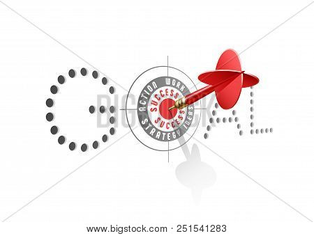 Goal Success Concept. Red Dart Hitting Center Of Business Target. Vector Illustration.