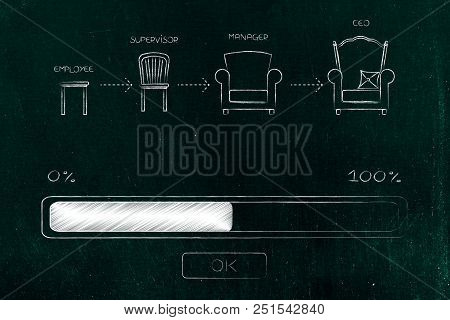 Career Progression Conceptual Illustration: Step By Step From Employee To Ceo With Progress Bar Load