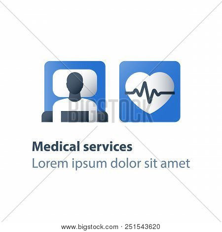 Patient in bed, hospital therapy, stationary treatment, medical procedure, life support, health check up, cardiovascular disease, heart stroke, blood attack, pulse trace, hypertension diagnostic, icon poster