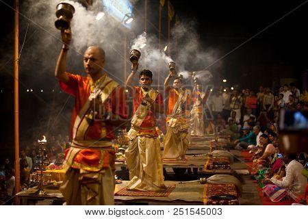 VARANASI, UTTAR PRADESH, INDIA - JULY 6, 2018: Ganga Aarti ceremony at Dasashvamedh Ghat with thousand of prayers each evenning.