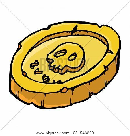 Pirate Coins. Vector Of An Old Coin With A Skull. Hand Drawn Pirate Coins With A Skull. Pile Of Old