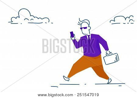 Businessman Using Smartphone Suitcase Going To Business Meeting Punctuality Concept Hard Working Pro