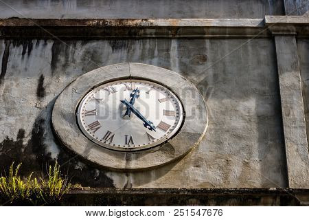 Old Clock Tower In Saint Lucia, Caribbean.