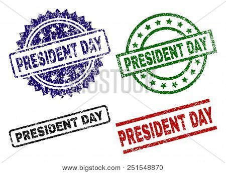 President Day Seal Prints With Damaged Texture. Black, Green, Red, Blue Vector Rubber Prints Of Pres
