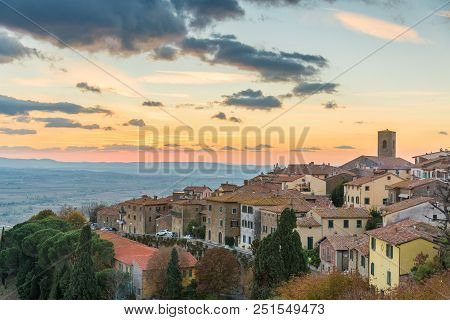 View From The Top Of Cortona At Sunset