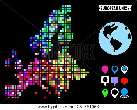 Bright Colored Dotted Halftone European Union Map. Geographic Map In Bright Random Colors On A Black