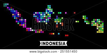 Bright Colored Pixel Halftone Indonesia Map. Geographic Map In Bright Random Colors On A Black Backg