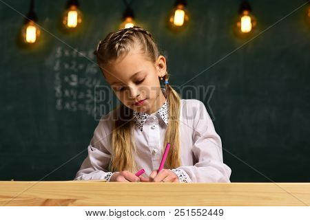 Creativity And Art. Creativity And Art Of Little Girl. Creativity In Art School Lesson. Girl Has Cre