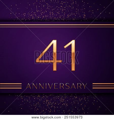 Realistic Forty One Years Anniversary Celebration Design Banner. Golden Number And Confetti On Purpl