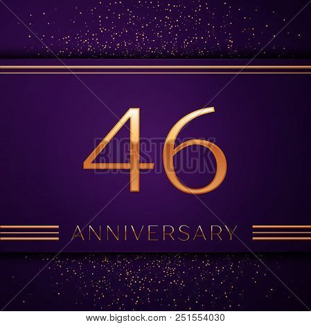 Realistic Forty Six Years Anniversary Celebration Design Banner. Golden Number And Confetti On Purpl