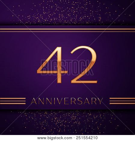 Realistic Forty Two Years Anniversary Celebration Design Banner. Golden Number And Confetti On Purpl