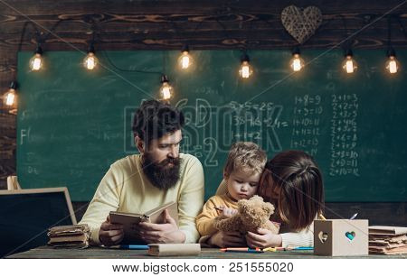 Student Concept. Family Cheer Up Student Tired Of Studying. Elementary School Student Want To Play W