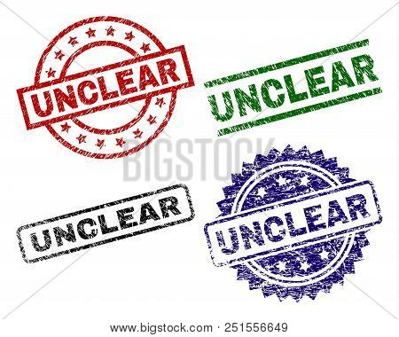 Unclear Seal Prints With Corroded Surface. Black, Green, Red, Blue Vector Rubber Prints Of Unclear C