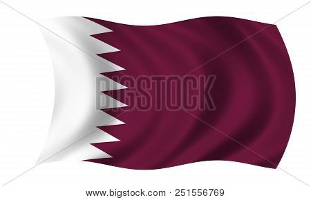Waving Qatar Flag In The Colors Purple And White
