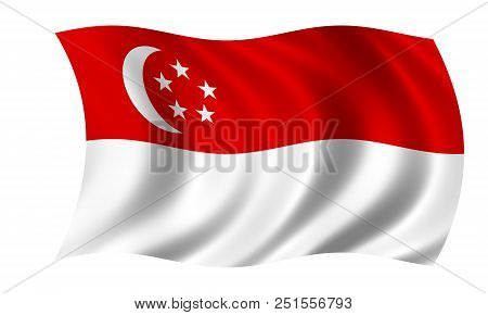 Waving Singapore Flag In In The Colors Red And White