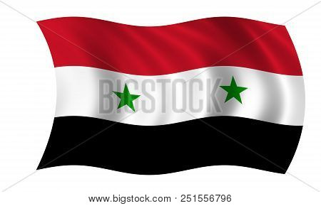 Waving Syrian Flag In The Colors Red, Black, Green And White