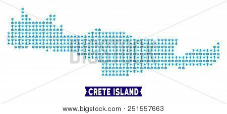 Winter Crete Island Map. Vector Geographic Plan In Blue Frosty Colors. Vector Pattern Of Crete Islan