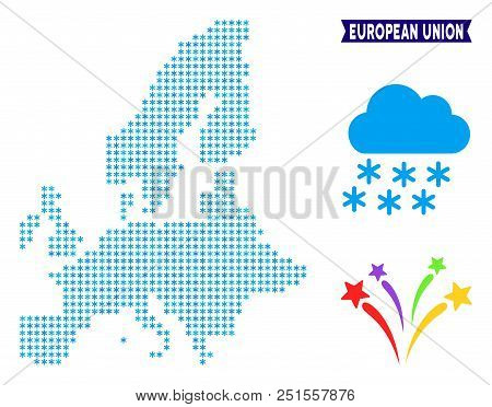Snowflake European Union Map. Vector Geographic Plan In Blue Winter Colors. Vector Concept Of Europe