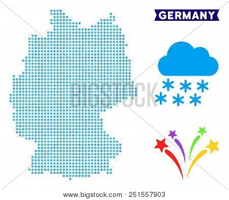 Icy Germany Map. Vector Geographic Scheme In Blue Frosty Colors. Vector Mosaic Of Germany Map Made O