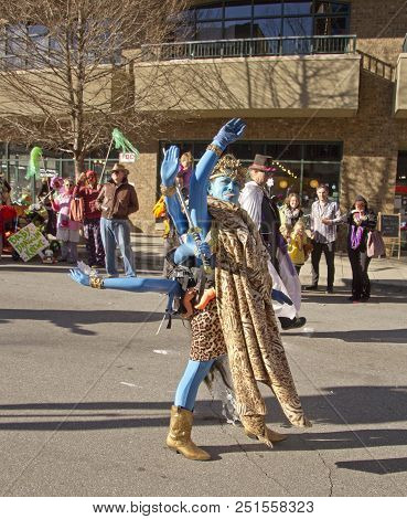 Asheville, North Carolina, Usa - February 7, 2016: Woman Creatively Costumed As Kali, The Blue, Eigh
