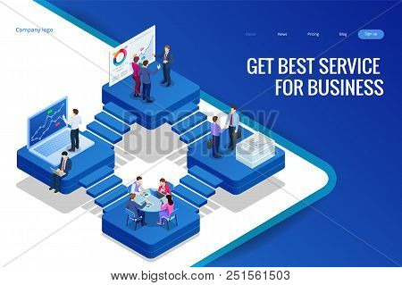 Isometric Analysis Data And Investment. Project Management, Business Communication, Workflow And Con