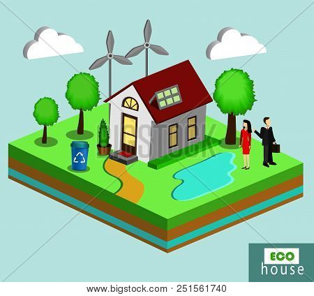 Vector Isolated Illustration Of Environmentally Friendly House In Isometric View With Wind Generator