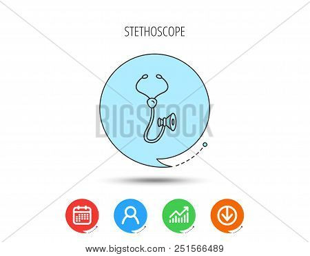 Stethoscope Icon. Medical Doctor Equipment Sign. Pulmology Symbol. Calendar, User And Business Chart
