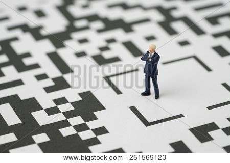 Leadership, Solution For Business Idea Concept, Miniature Figurine Businessman Standing At The Cente