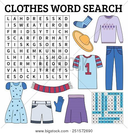 Learn English With A Clothes Word Search Game For Kids. Vector Illustration.