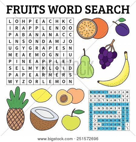 Learn English With A Fruits Word Search Game For Kids. Vector Illustration.
