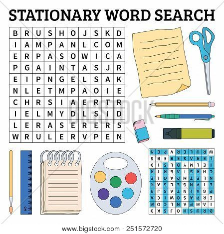 Learn English With A Stationary Word Search Game For Kids. Vector Illustration.