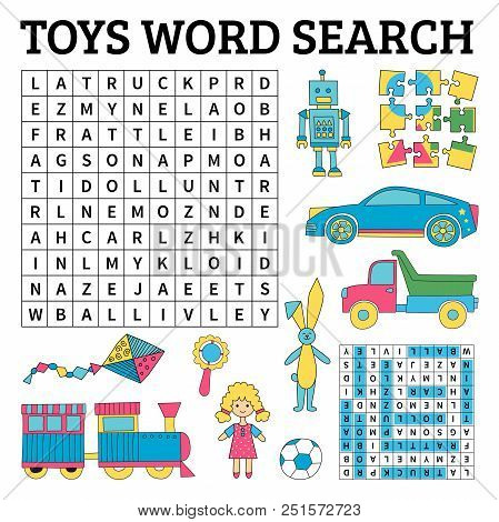 Learn English With A Toys Word Search Game For Kids. Vector Illustration.