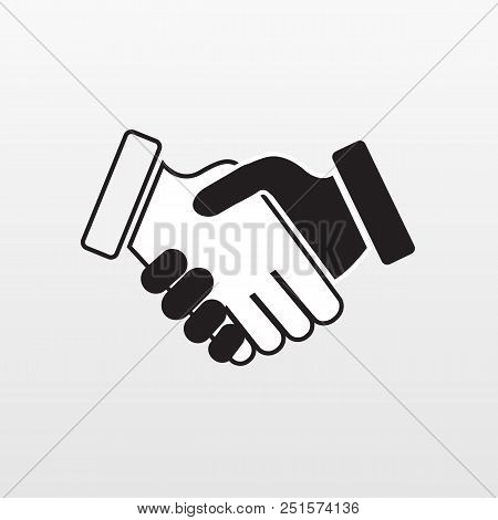 Gray Hand Shake Icon On Background. Modern Simple Flat Handshake Sign. Business Agree, Internet Conc