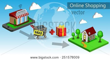 Mobile Shopping E-commerce Online Store Flat 3d Web Isometric Icon Around The World Vector